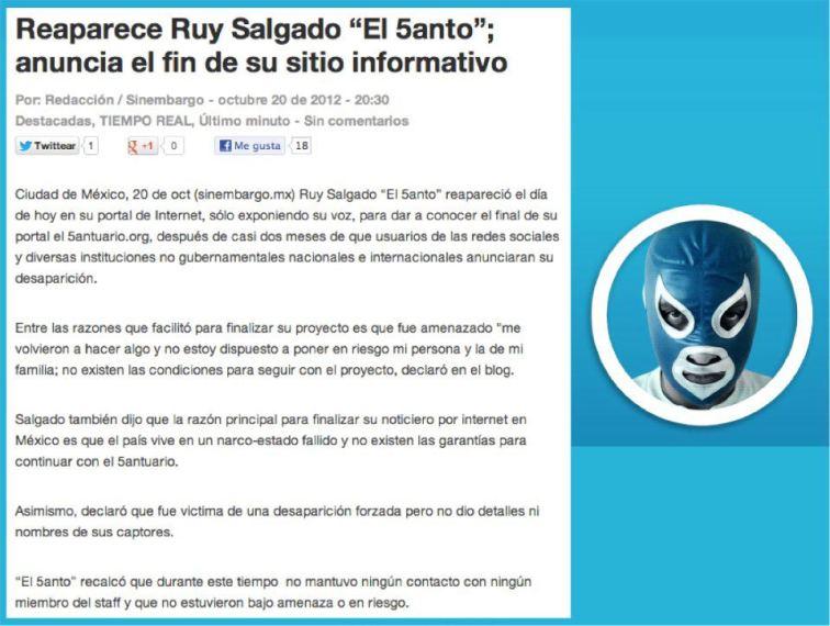 Reaparición de Ruy Salgado (El 5anto) informando el fin de ese sitio informativo.